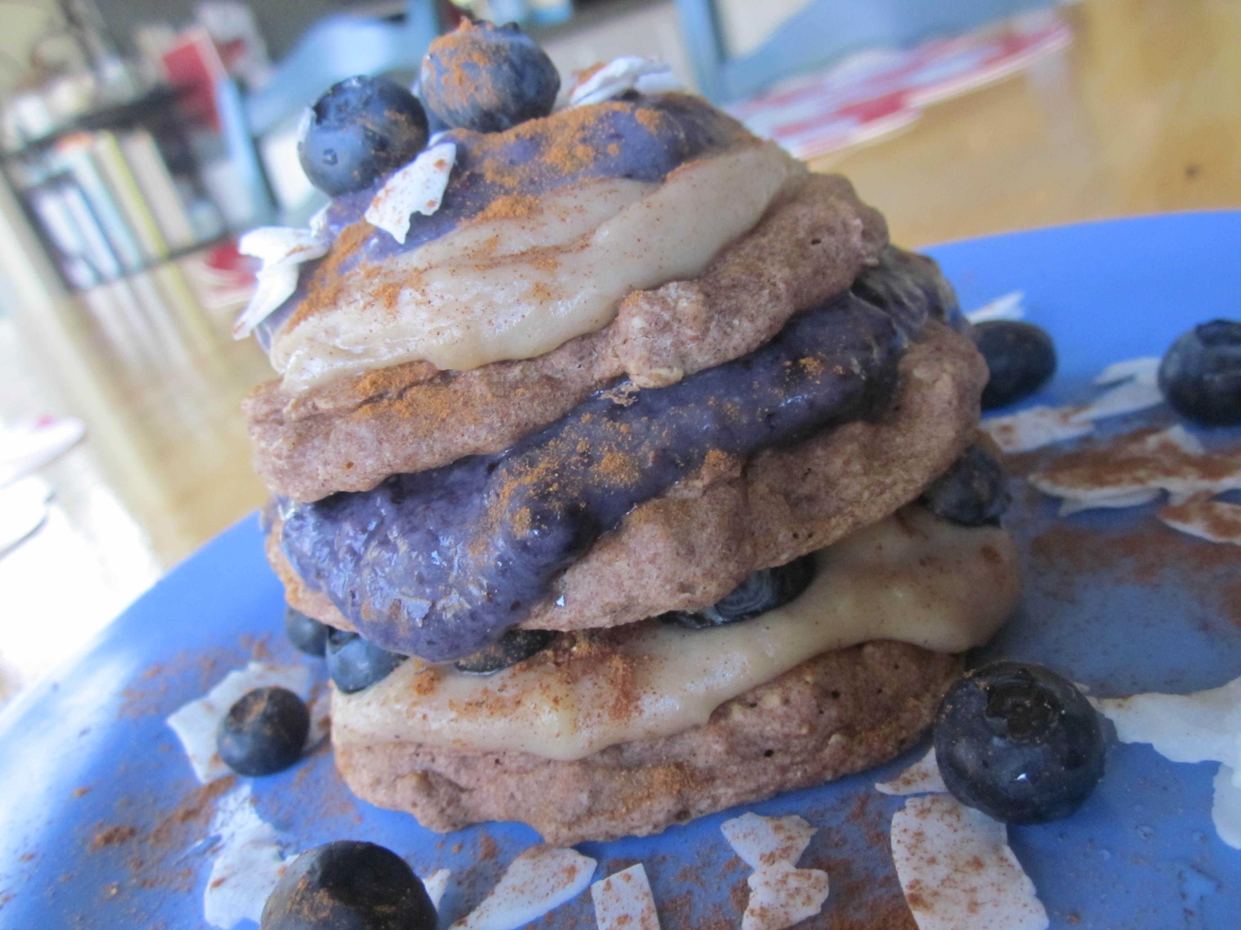 cinnamon & spice pancakes with coconut banana butter and banana ...